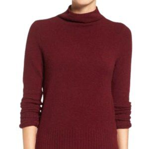 Madewell Inland Rolled Turtleneck Sweater in Heathered Burgundy Small